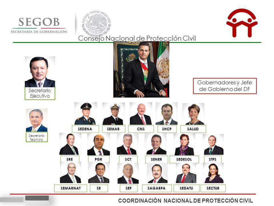 Gobernadores y Jefe de Gobierno del DF Secretario Ejecutivo Consejo Nacional de Protección Civil SEDENA SEMAR CNS SHCP SALUD SRE PGR SCT SENER SEDESOL