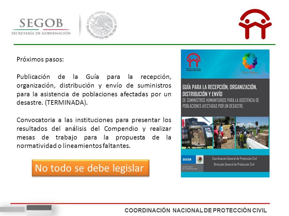COORDINACIÓN NACIONAL DE PROTECCIÓN CIVIL Próximos pasos: Publicación de la Guía para la recepción, organización, distribución y envío de suministros para la asistencia de poblaciones afectadas por un desastre.