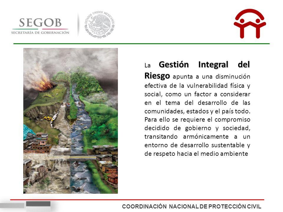 COORDINACIÓN NACIONAL DE PROTECCIÓN CIVIL Gestión Integral del Riesgo La Gestión Integral del Riesgo apunta a una disminución efectiva de la vulnerabi