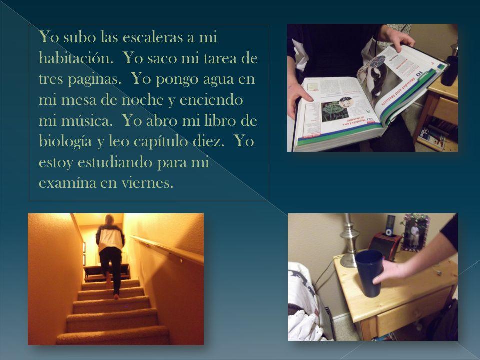 Yo subo las escaleras a mi habitación. Yo saco mi tarea de tres paginas. Yo pongo agua en mi mesa de noche y enciendo mi música. Yo abro mi libro de b