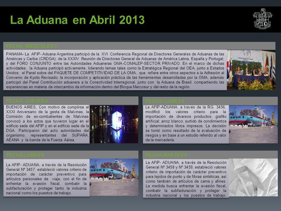 La Aduana en Abril 2013 FECHA: LUNES 8 La AFIP-ADUANA, a través de la RG.