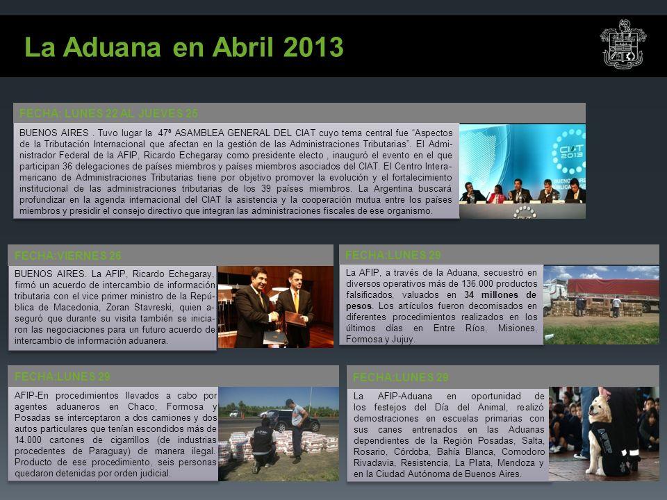 La Aduana en Abril 2013 FECHA: LUNES 22 AL JUEVES 25 BUENOS AIRES.