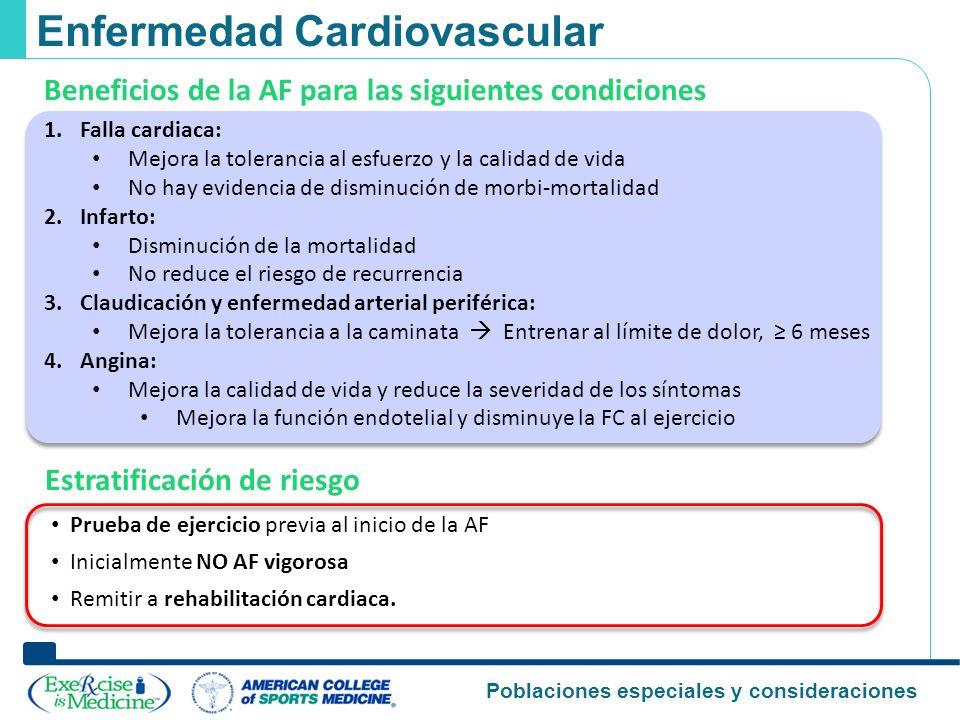 Poblaciones especiales y consideraciones Enfermedad Cardiovascular Estratificación de riesgo Prueba de ejercicio previa al inicio de la AF Inicialment