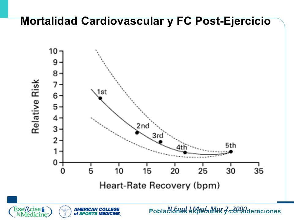Poblaciones especiales y consideraciones N Engl J Med, Mar 2, 2000 Mortalidad Cardiovascular y FC Post-Ejercicio
