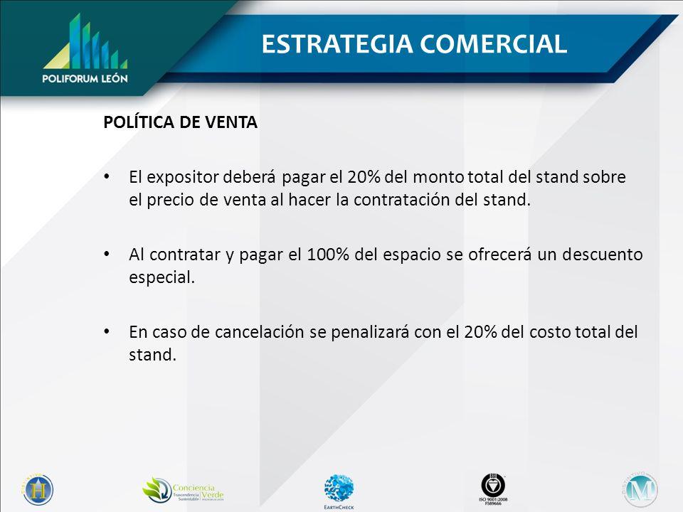 POLÍTICA DE VENTA El expositor deberá pagar el 20% del monto total del stand sobre el precio de venta al hacer la contratación del stand.