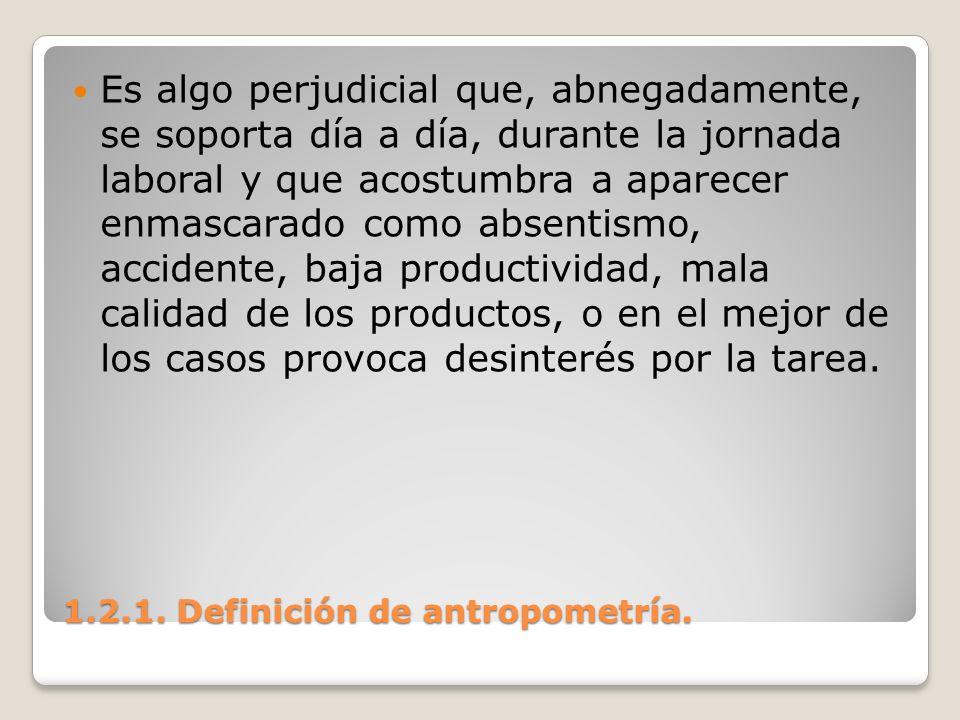 1.2.1. Definición de antropometría. 1.2.1. Definición de antropometría. Es algo perjudicial que, abnegadamente, se soporta día a día, durante la jorna