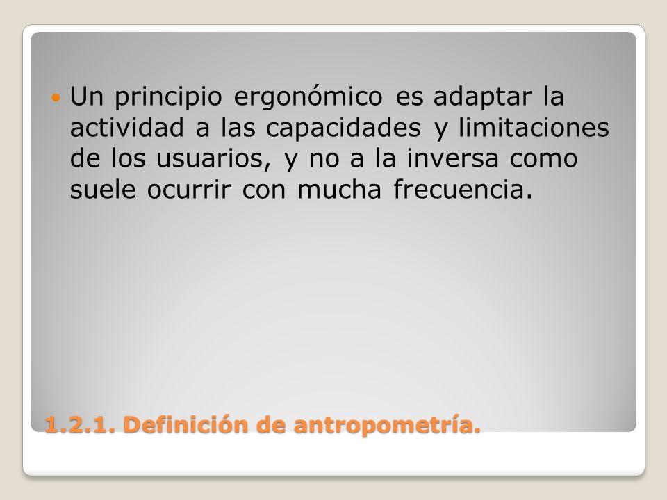 1.2.1. Definición de antropometría. 1.2.1. Definición de antropometría. Un principio ergonómico es adaptar la actividad a las capacidades y limitacion