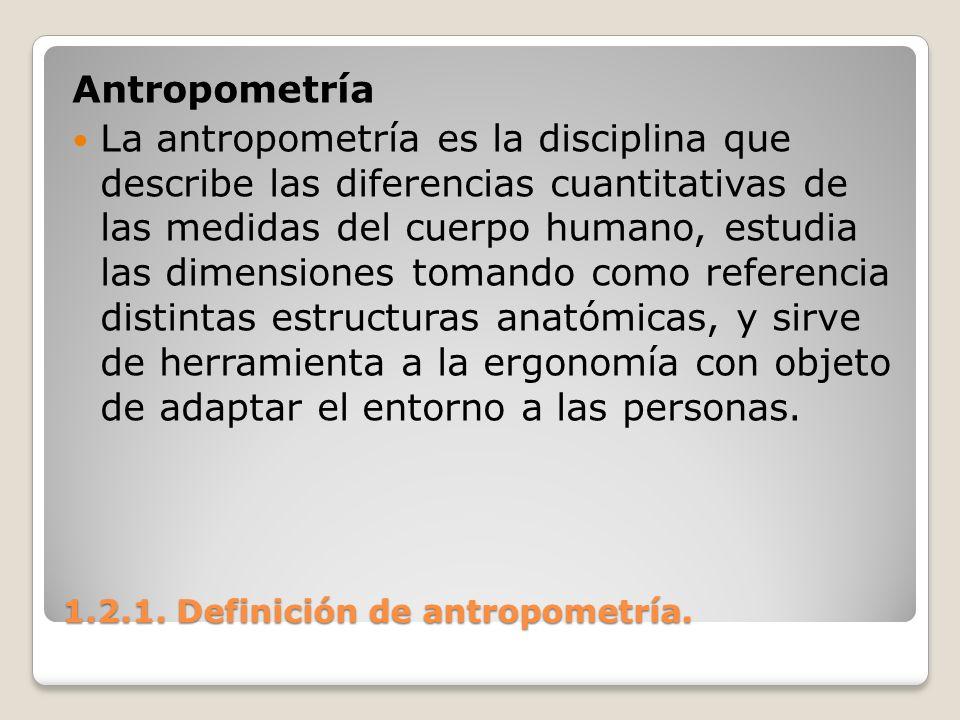 1.2.1. Definición de antropometría. 1.2.1. Definición de antropometría. Antropometría La antropometría es la disciplina que describe las diferencias c