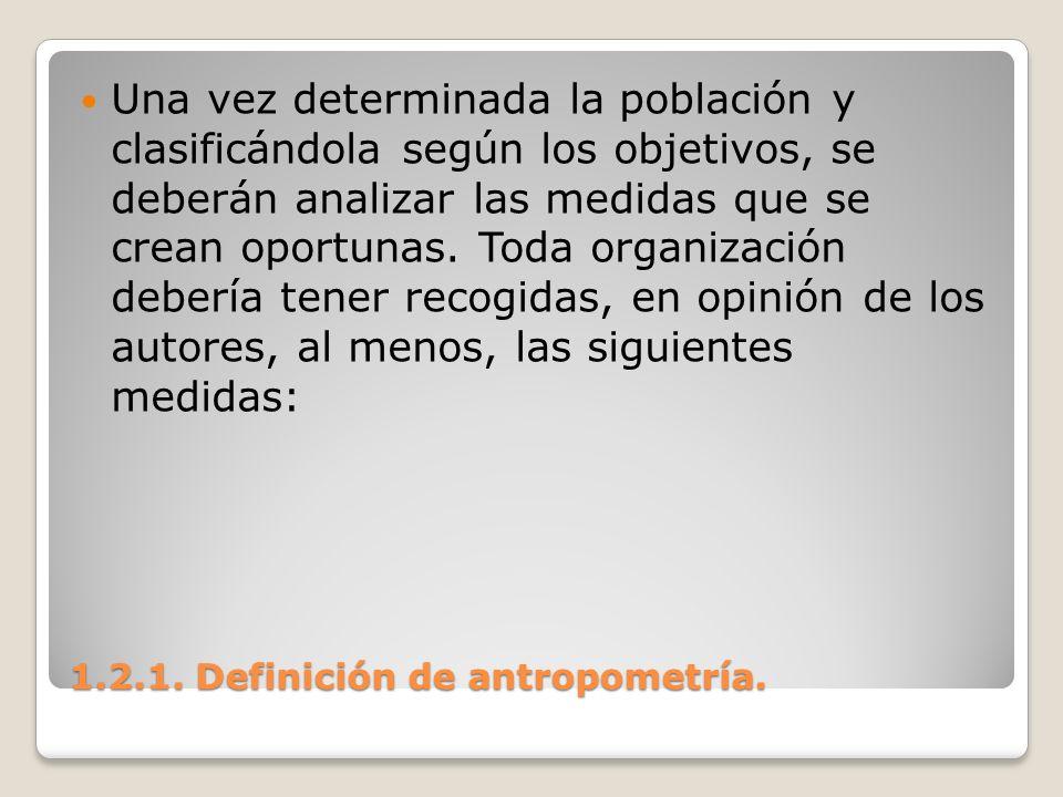1.2.1. Definición de antropometría. 1.2.1. Definición de antropometría. Una vez determinada la población y clasificándola según los objetivos, se debe