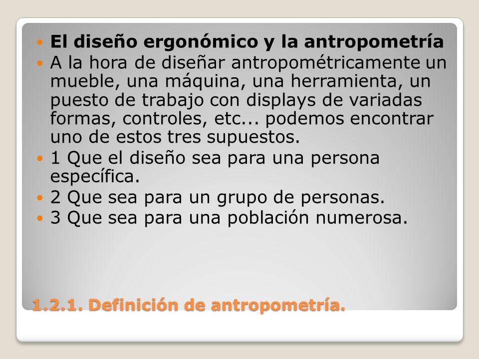1.2.1. Definición de antropometría. 1.2.1. Definición de antropometría. El diseño ergonómico y la antropometría A la hora de diseñar antropométricamen
