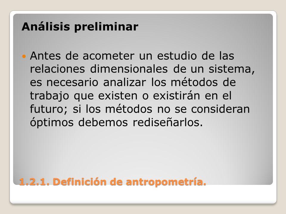 1.2.1. Definición de antropometría. 1.2.1. Definición de antropometría. Análisis preliminar Antes de acometer un estudio de las relaciones dimensional