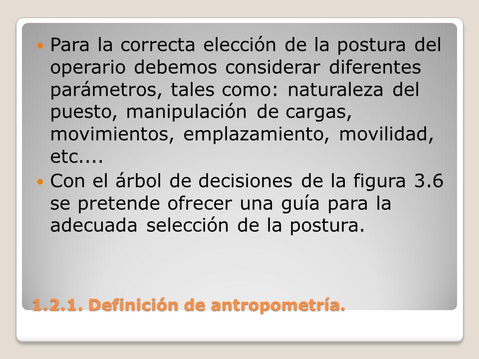 1.2.1. Definición de antropometría. 1.2.1. Definición de antropometría. Para la correcta elección de la postura del operario debemos considerar difere