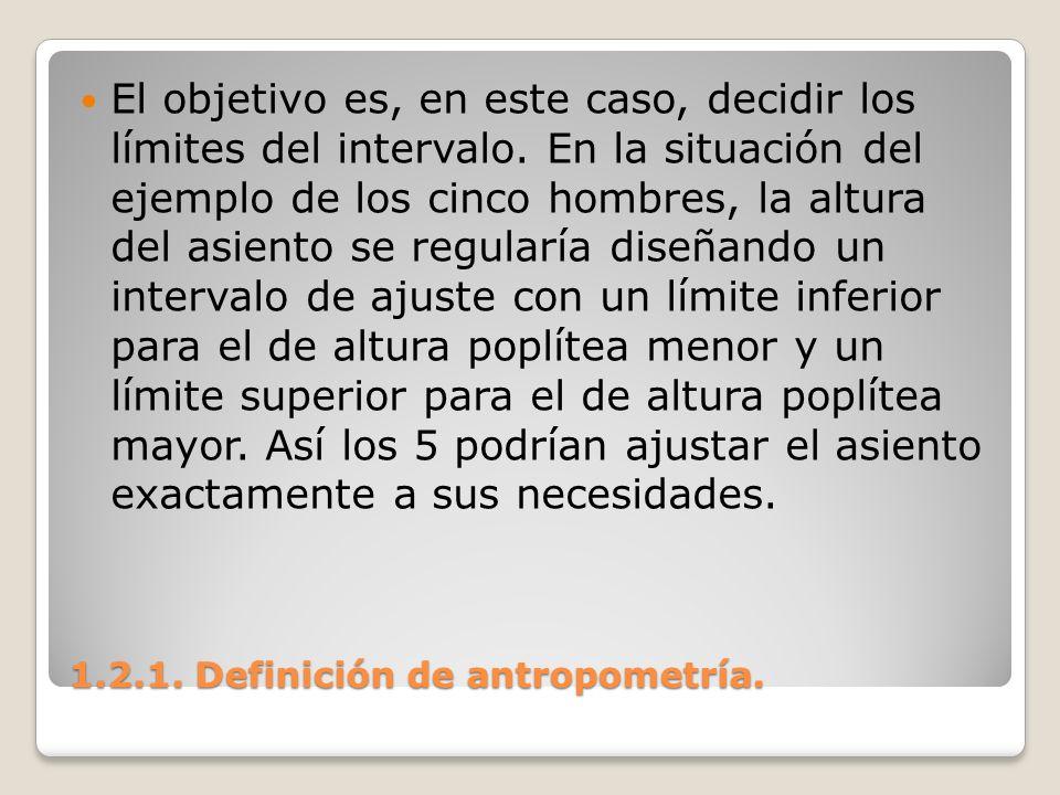 1.2.1. Definición de antropometría. 1.2.1. Definición de antropometría. El objetivo es, en este caso, decidir los límites del intervalo. En la situaci