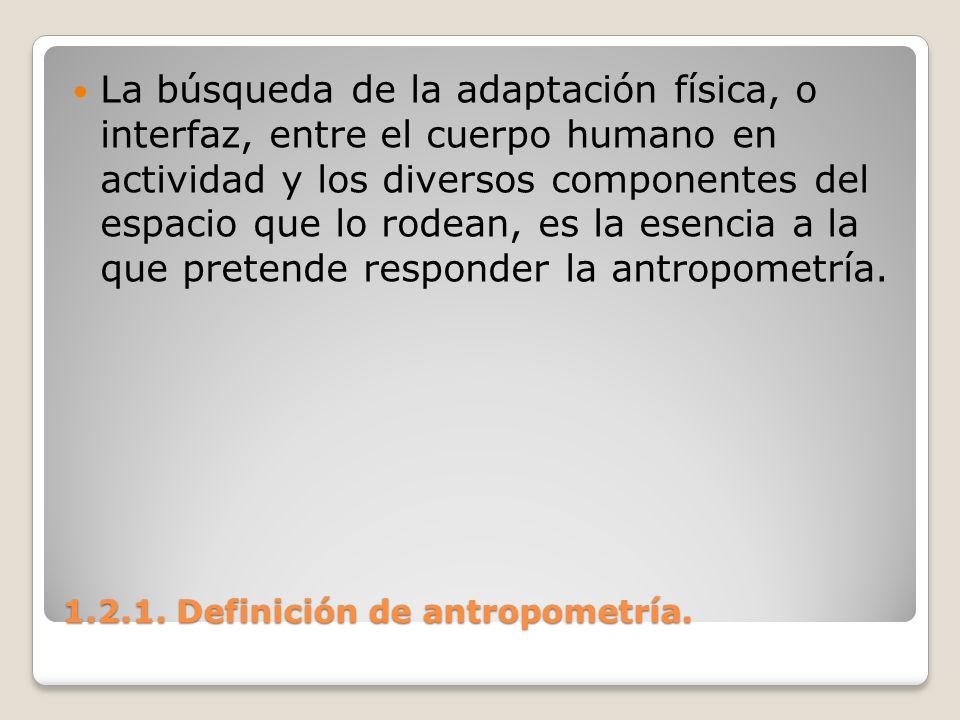 1.2.1. Definición de antropometría. 1.2.1. Definición de antropometría. La búsqueda de la adaptación física, o interfaz, entre el cuerpo humano en act