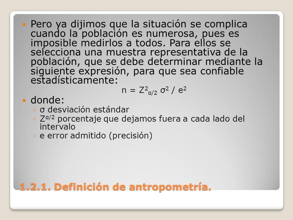 1.2.1. Definición de antropometría. 1.2.1. Definición de antropometría. Pero ya dijimos que la situación se complica cuando la población es numerosa,