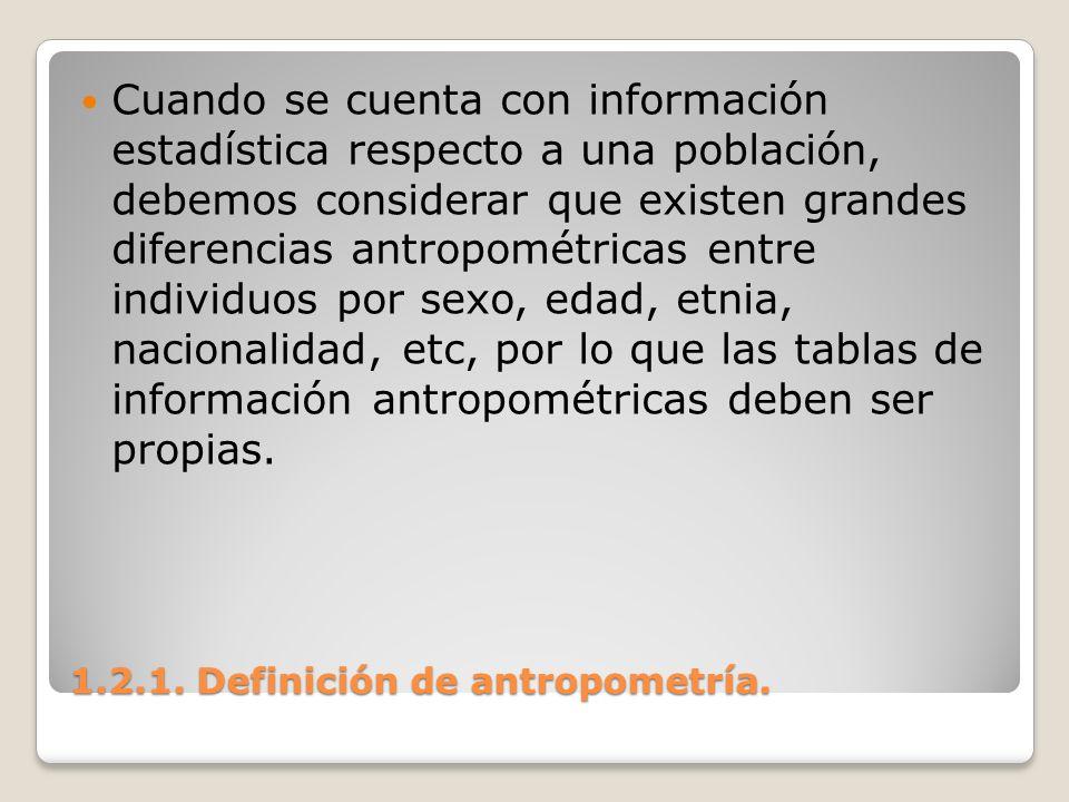 1.2.1. Definición de antropometría. 1.2.1. Definición de antropometría. Cuando se cuenta con información estadística respecto a una población, debemos