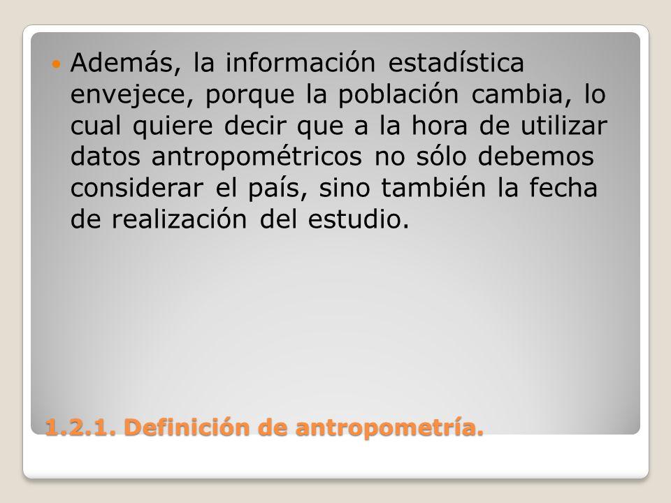 1.2.1. Definición de antropometría. 1.2.1. Definición de antropometría. Además, la información estadística envejece, porque la población cambia, lo cu