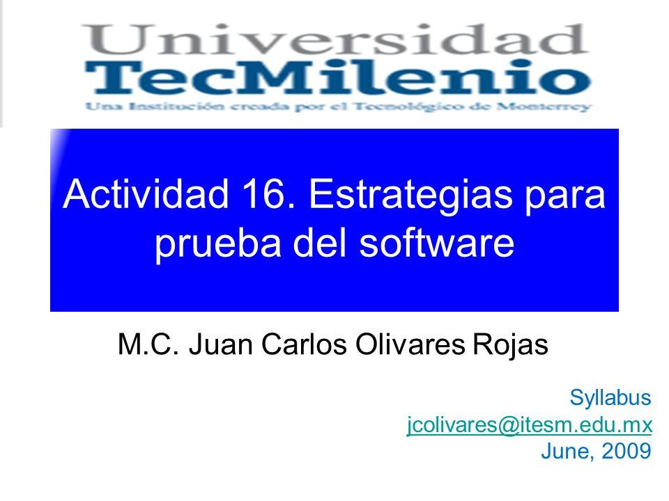Actividad 16. Estrategias para prueba del software M.C. Juan Carlos Olivares Rojas Syllabus jcolivares@itesm.edu.mx June, 2009