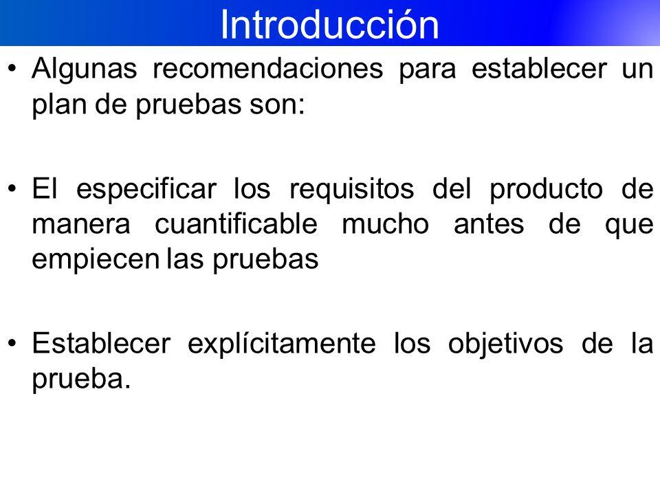 Introducción Algunas recomendaciones para establecer un plan de pruebas son: El especificar los requisitos del producto de manera cuantificable mucho