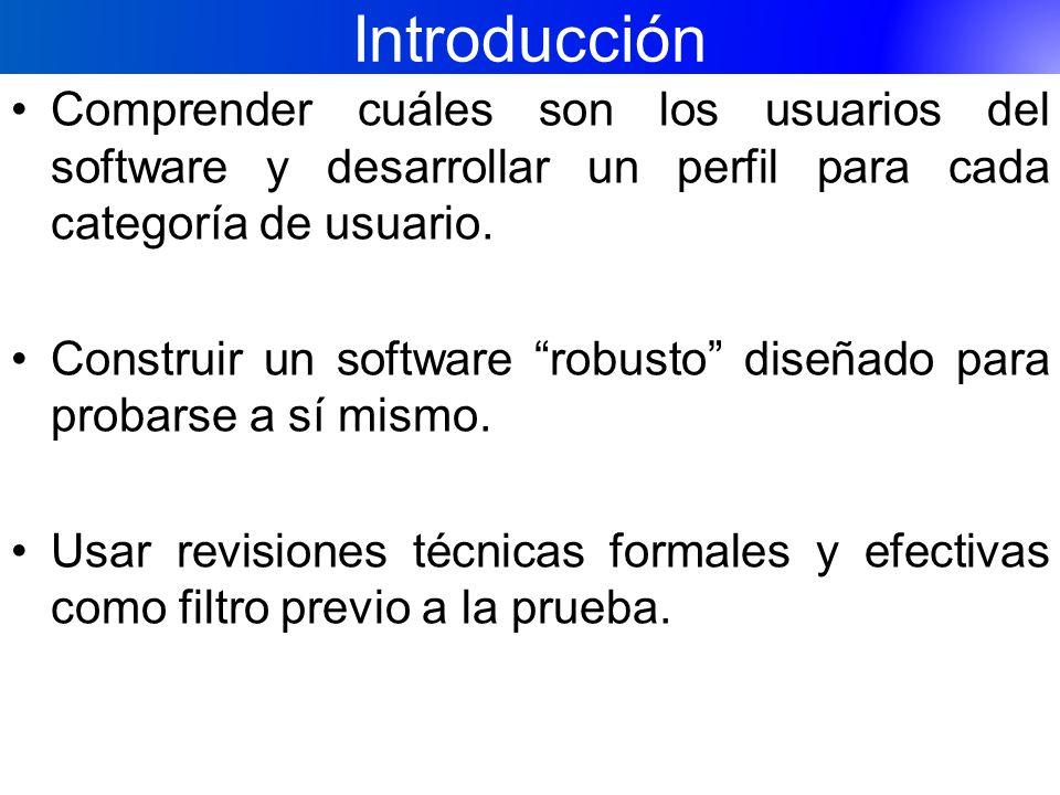 Introducción Comprender cuáles son los usuarios del software y desarrollar un perfil para cada categoría de usuario. Construir un software robusto dis