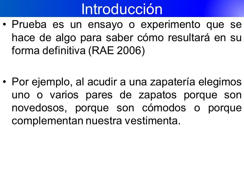 Introducción Prueba es un ensayo o experimento que se hace de algo para saber cómo resultará en su forma definitiva (RAE 2006) Por ejemplo, al acudir