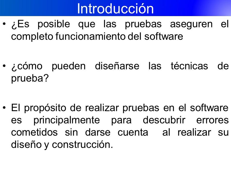 Introducción ¿Es posible que las pruebas aseguren el completo funcionamiento del software ¿cómo pueden diseñarse las técnicas de prueba? El propósito