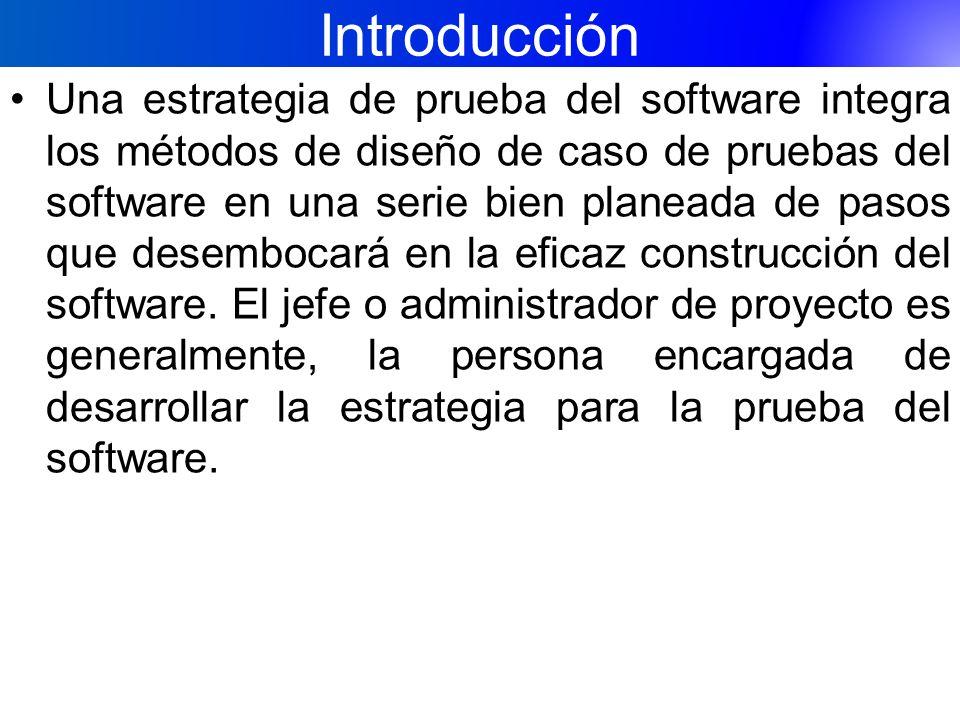 Introducción Una estrategia de prueba del software integra los métodos de diseño de caso de pruebas del software en una serie bien planeada de pasos q