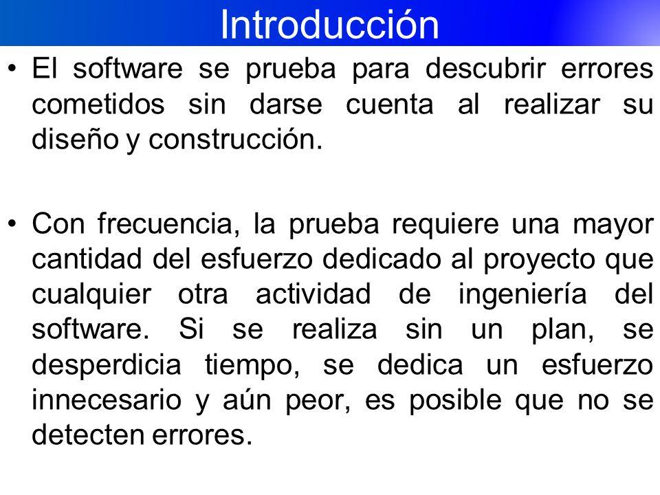Introducción El software se prueba para descubrir errores cometidos sin darse cuenta al realizar su diseño y construcción. Con frecuencia, la prueba r
