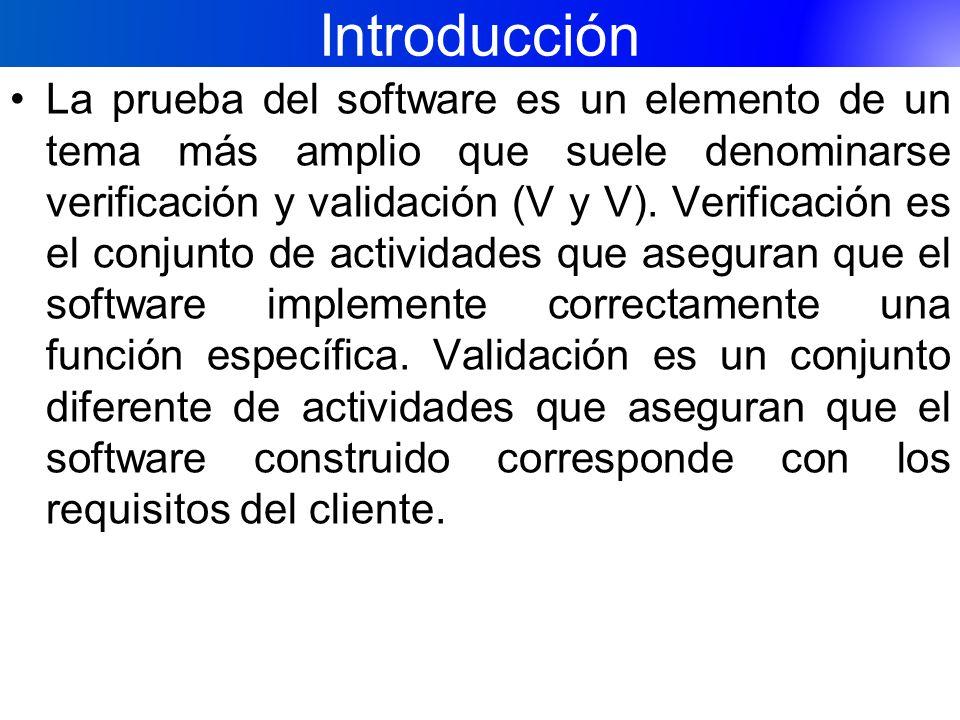 Introducción La prueba del software es un elemento de un tema más amplio que suele denominarse verificación y validación (V y V). Verificación es el c
