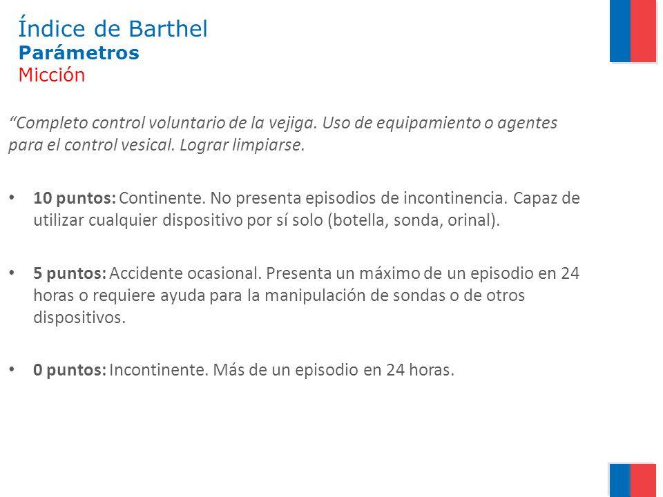 Índice de Barthel Parámetros Micción Completo control voluntario de la vejiga. Uso de equipamiento o agentes para el control vesical. Lograr limpiarse
