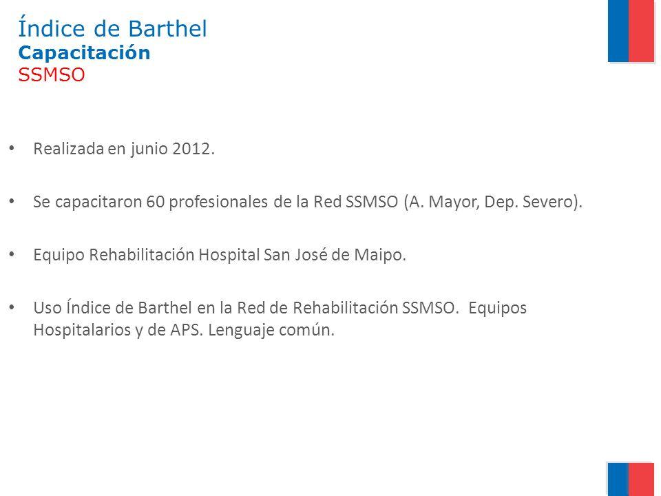 Índice de Barthel Capacitación SSMSO Realizada en junio 2012. Se capacitaron 60 profesionales de la Red SSMSO (A. Mayor, Dep. Severo). Equipo Rehabili