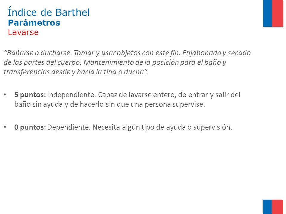 Índice de Barthel Parámetros Lavarse Bañarse o ducharse. Tomar y usar objetos con este fin. Enjabonado y secado de las partes del cuerpo. Mantenimient