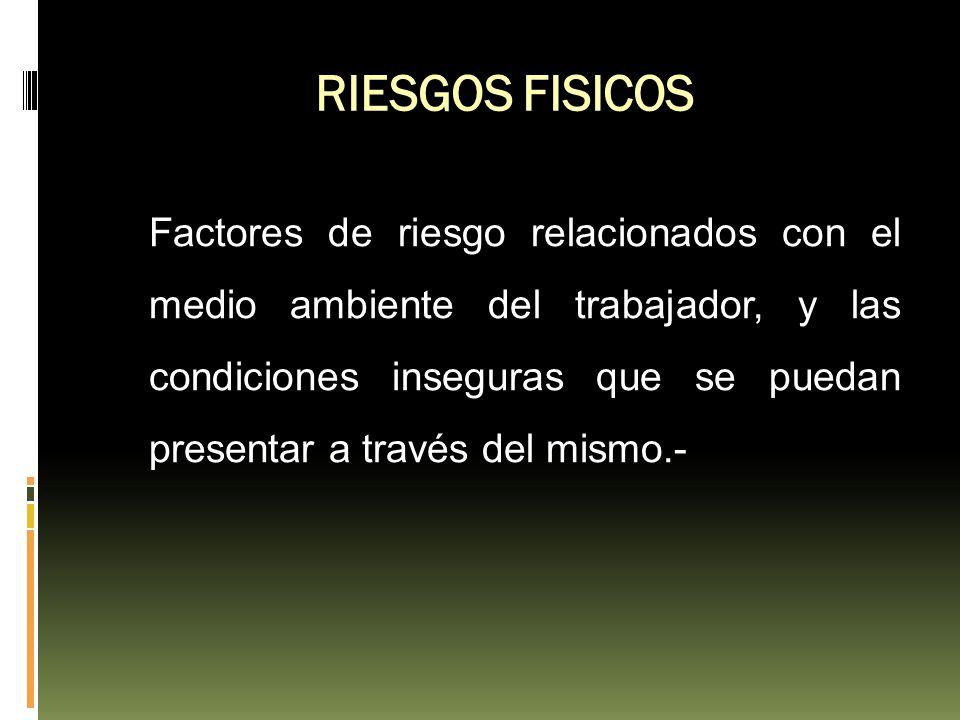 RIESGOS FISICOS Factores de riesgo relacionados con el medio ambiente del trabajador, y las condiciones inseguras que se puedan presentar a través del