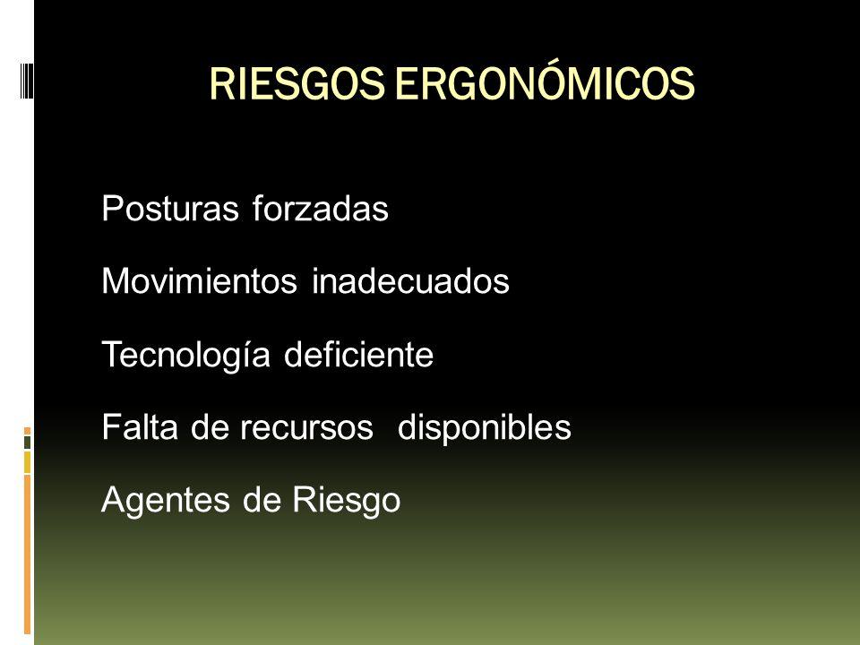 Posturas forzadas Movimientos inadecuados Tecnología deficiente Falta de recursos disponibles Agentes de Riesgo RIESGOS ERGONÓMICOS