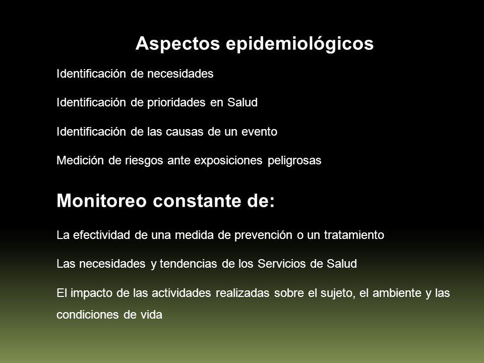 Aspectos epidemiológicos Identificación de necesidades Identificación de prioridades en Salud Identificación de las causas de un evento Medición de ri