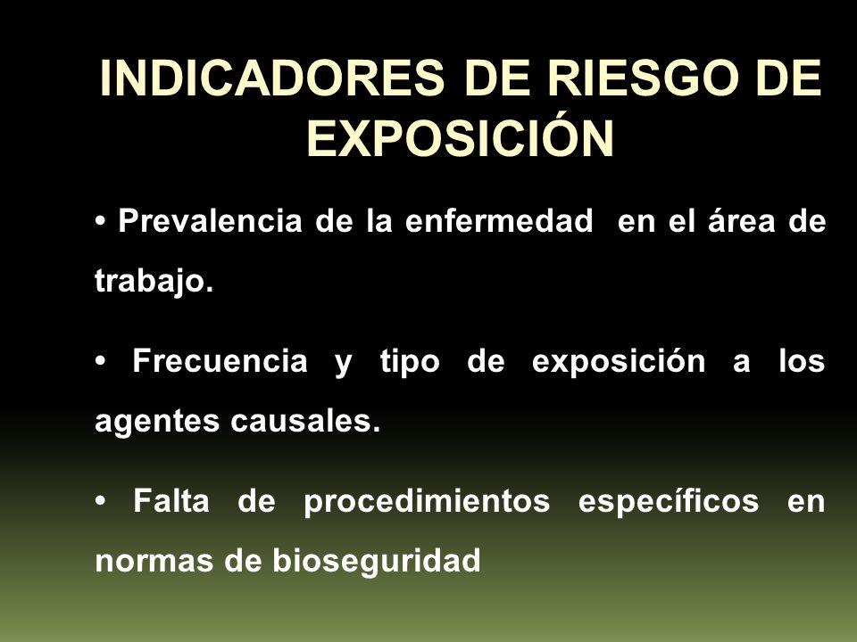 INDICADORES DE RIESGO DE EXPOSICIÓN Prevalencia de la enfermedad en el área de trabajo. Frecuencia y tipo de exposición a los agentes causales. Falta