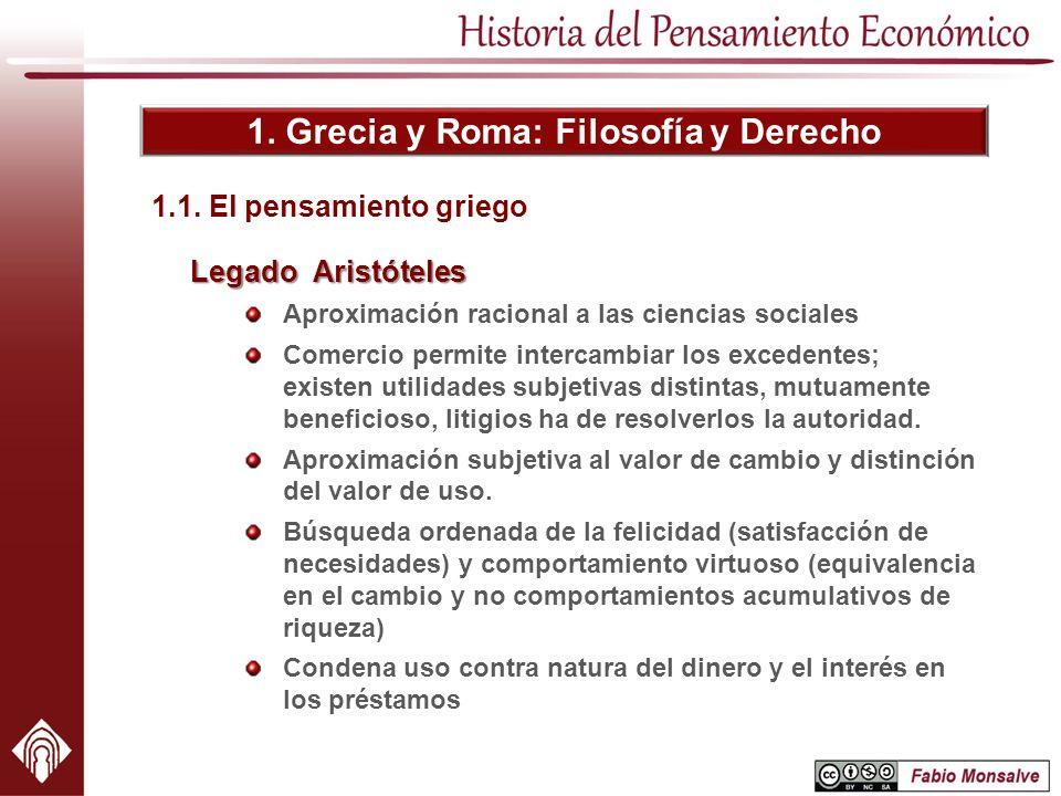 1. Grecia y Roma: Filosofía y Derecho Legado Aristóteles Aproximación racional a las ciencias sociales Comercio permite intercambiar los excedentes; e
