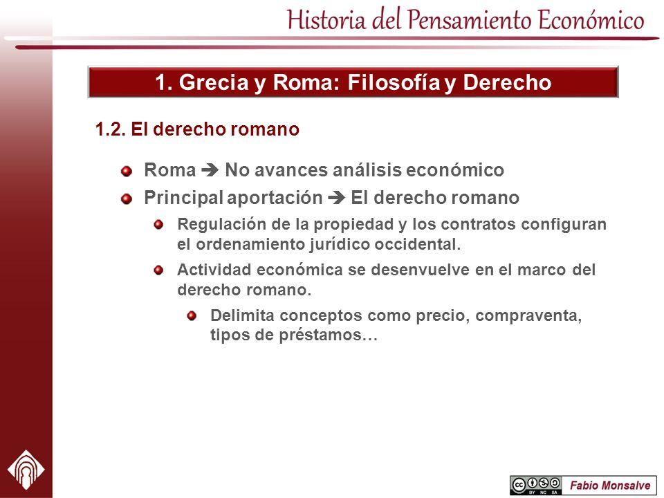 1. Grecia y Roma: Filosofía y Derecho Roma No avances análisis económico Principal aportación El derecho romano Regulación de la propiedad y los contr
