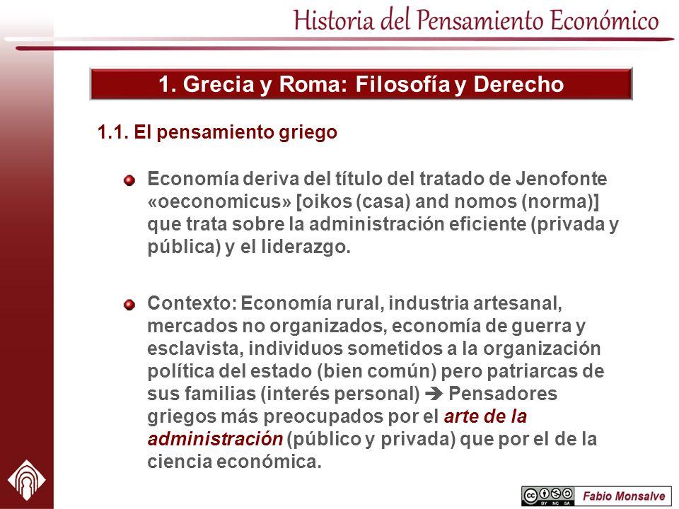 1. Grecia y Roma: Filosofía y Derecho Economía deriva del título del tratado de Jenofonte «oeconomicus» [oikos (casa) and nomos (norma)] que trata sob
