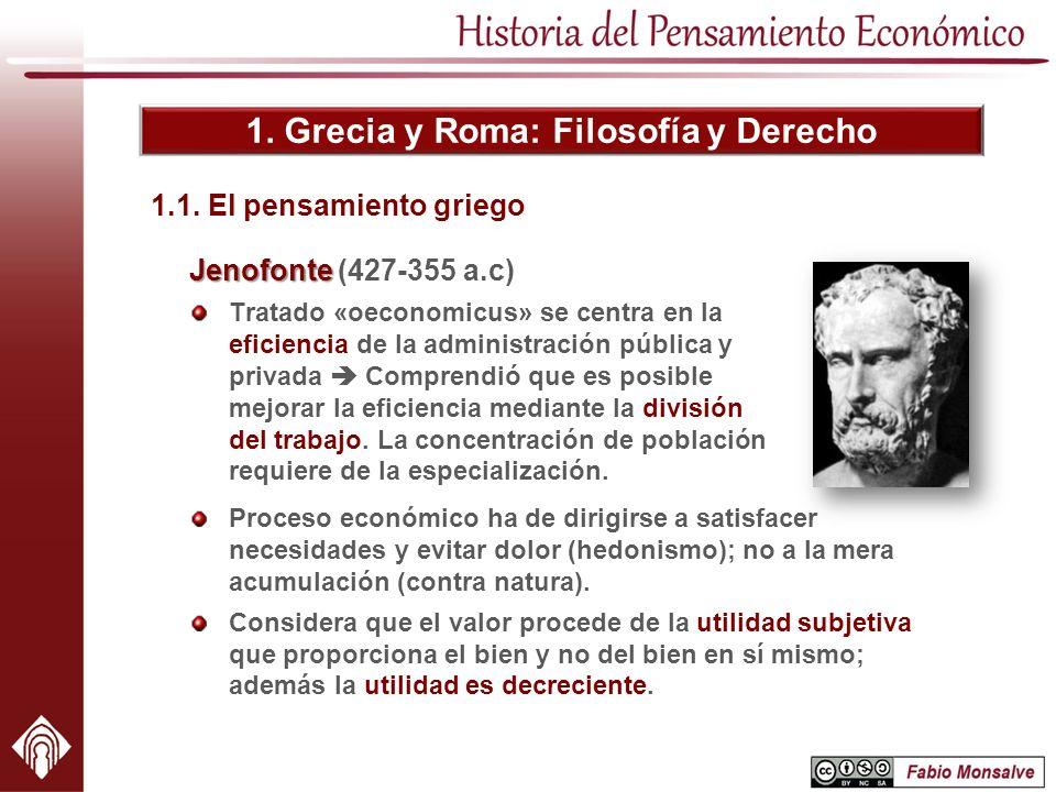 1. Grecia y Roma: Filosofía y Derecho Jenofonte Jenofonte (427-355 a.c) Tratado «oeconomicus» se centra en la eficiencia de la administración pública