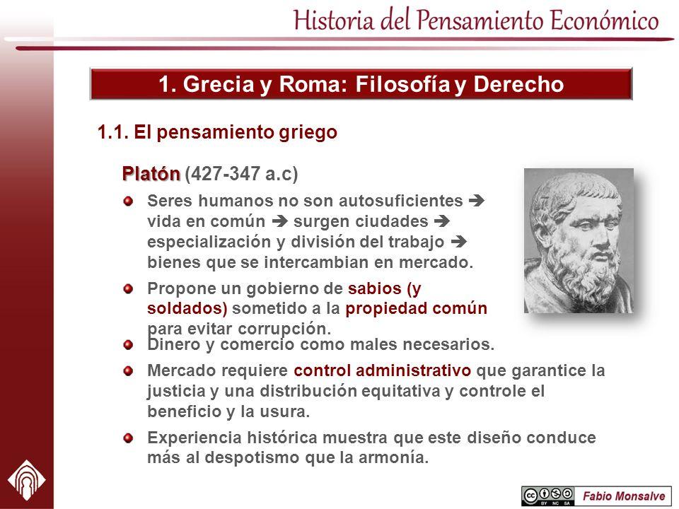 1. Grecia y Roma: Filosofía y Derecho Platón Platón (427-347 a.c) Seres humanos no son autosuficientes vida en común surgen ciudades especialización y