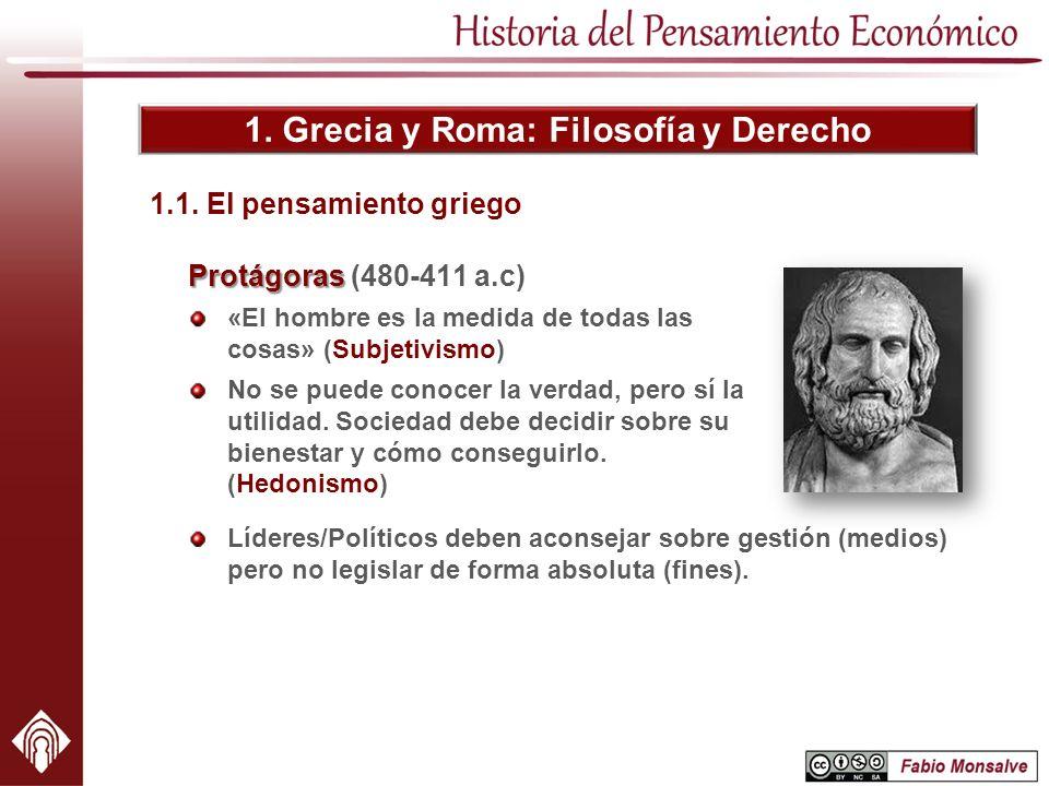 1. Grecia y Roma: Filosofía y Derecho Protágoras Protágoras (480-411 a.c) «El hombre es la medida de todas las cosas» (Subjetivismo) No se puede conoc