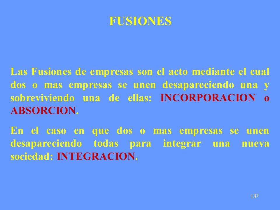 13 FUSIONES Las Fusiones de empresas son el acto mediante el cual dos o mas empresas se unen desapareciendo una y sobreviviendo una de ellas: INCORPORACION o ABSORCION.