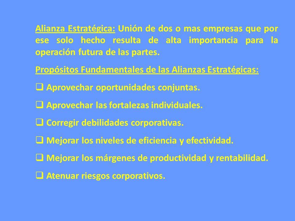 Alianza Estratégica: Unión de dos o mas empresas que por ese solo hecho resulta de alta importancia para la operación futura de las partes.