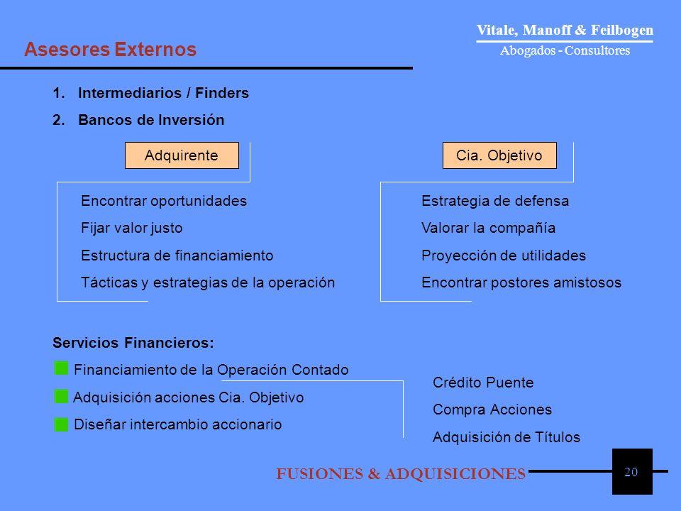 20 1. Intermediarios / Finders 2. Bancos de Inversión AdquirenteCia. Objetivo Encontrar oportunidadesEstrategia de defensa Fijar valor justoValorar la