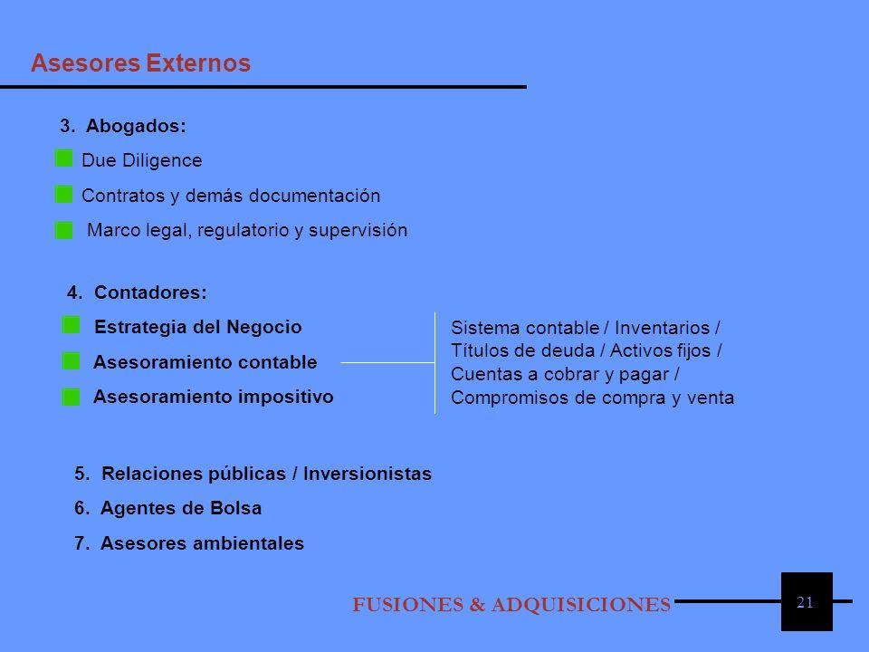 21 3. Abogados: Due Diligence Contratos y demás documentación Marco legal, regulatorio y supervisión 4. Contadores: Estrategia del Negocio Asesoramien