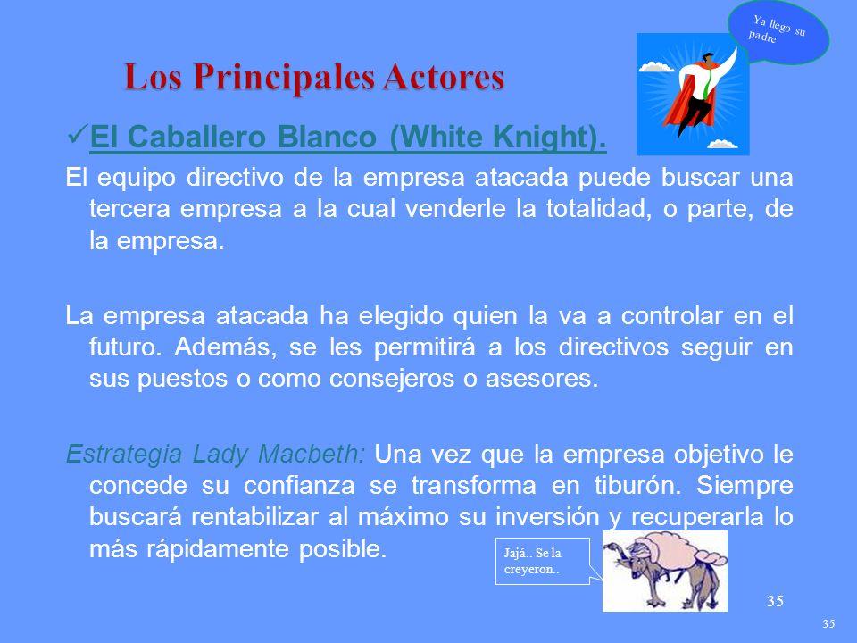 35 El Caballero Blanco (White Knight). El equipo directivo de la empresa atacada puede buscar una tercera empresa a la cual venderle la totalidad, o p