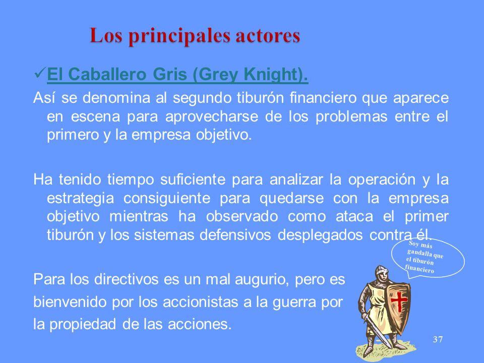37 El Caballero Gris (Grey Knight). Así se denomina al segundo tiburón financiero que aparece en escena para aprovecharse de los problemas entre el pr