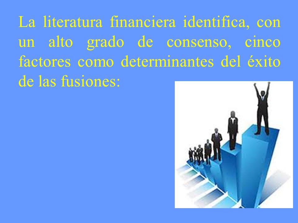 La literatura financiera identifica, con un alto grado de consenso, cinco factores como determinantes del éxito de las fusiones: