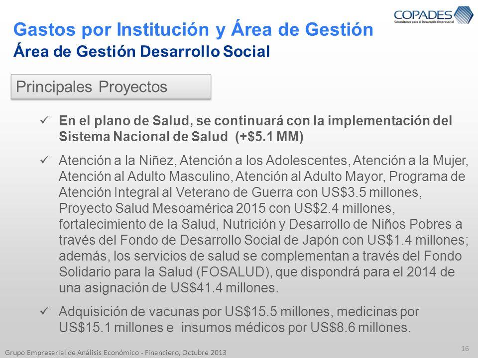 Gastos por Institución y Área de Gestión 16 Grupo Empresarial de Análisis Económico - Financiero, Octubre 2013 Área de Gestión Desarrollo Social En el